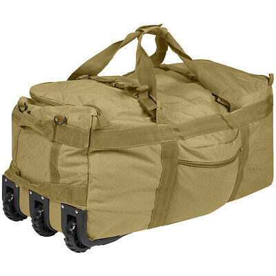 Combat Carrying Duffel Tactical Travel Wheelie Bag Backpack Luggage Coyote Tan
