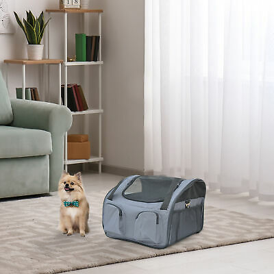 Pawhut 3in1 Pet Carrier Bag Car Seat Dog Cat Carrier Travel Booster Gray Mat New