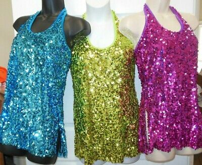 NWT Sequin Teardrop Halter Dress Snap Closure Slit hem Ch szs Salsa Jazz