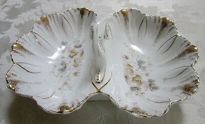 1890's ANTIQUE KRISTER KPM GERMANY DIVIDED HANDLED SERVING DISH  W/ FLORAL MOTIF