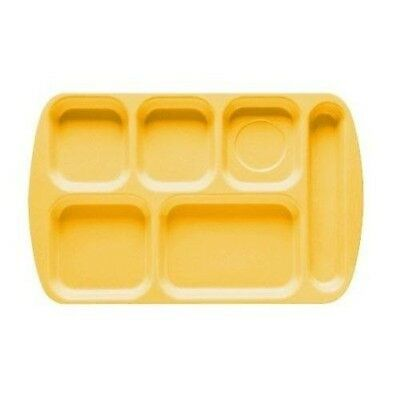"""(12) 6 Compartment School and Cafeteria Lunch Tray. (10"""" x 15.5"""") Bright Yellow"""