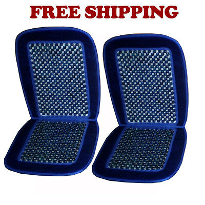 Brand New Car Truck Wood Beaded Premium Seat Cushion Color Navy Blue Set of 2
