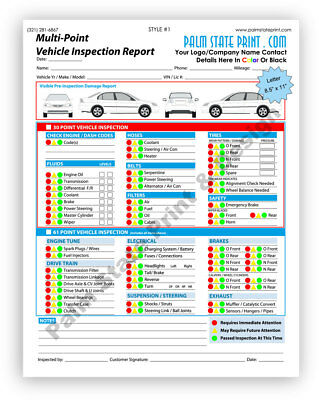 50 2 Part Auto Automotive Vehicle Inspection Form Custom Carbonless Sets Book