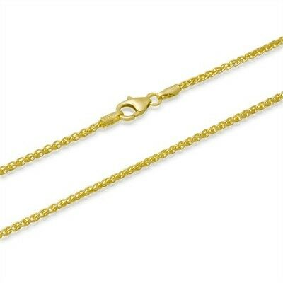 2mm 14k Hamilton gold plated sterling silver 925 spiga wheat chain necklace