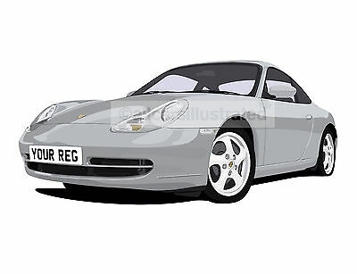 Porsche 911 996 Graphic Car Art Print Picture (Size A4). Personalise It!