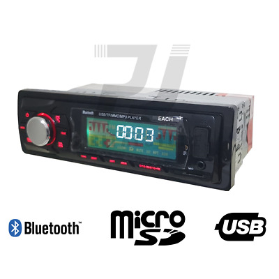 Autoradio Stereo Bluetooth Fm Auto Mp3 Usb Sd Card Aux Radio con telecomando
