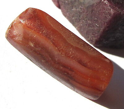 RARE LARGE ANCIENT BANDED CARNELIAN AGATE EYE MALI BEAD 10mm x 24mm