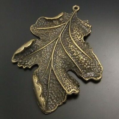 6X Antiqued Bronze Tone Large Leaf Pendant Findings Charms 63*51mm