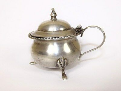 Silver Mustard Pot With Hinge Cover, 98.4 g