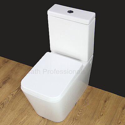 Toilet WC Bathroom Close Coupled Square Extra Comfort Modern Ceramic Seat T5N KL