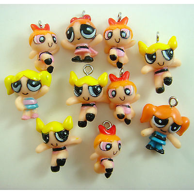 10 pcs Powerpuff Girls DIY Pvc Jewelry Making Assorted Figures Charms Pendant