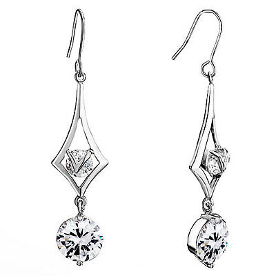 Day Gifts Pugster Rhombus Crystal Round Dangle April Birthstone Clear Drop A59