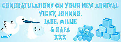 personalised banner for new born arrival baby boy girl banners