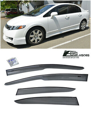 For 06-11 Civic Mugen II Style Window Rain Guard Visors 4drs Sedan Honda JDM SI