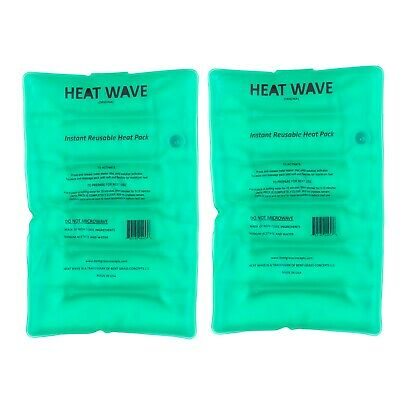 2 NEW HEAT WAVE Instant Reusable Heat Packs - LARGE Pack- 8x12 in - made in USA