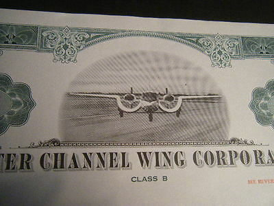 PAIR of Custer Channel Wing Aircraft Corp cancelled certificates, Green & Olive