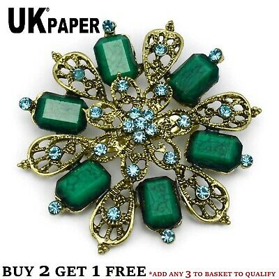 """2.5"""" Large Gold Flower Vintage Green Brooch Turquoise Rhinestone Crystals Broach"""