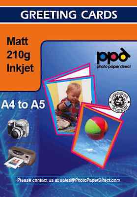 A4 Matt Greetings Card Photo Paper 210g With Envelopes x 50 Sheets