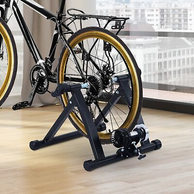 Folding Indoor Bike Trainer Cycling Stationary Stand Wind Exercise Workout Black