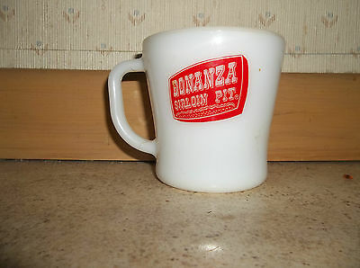 VINTAGE  Old bonanza sirloin pit cup milk glass by heat proof made in USA