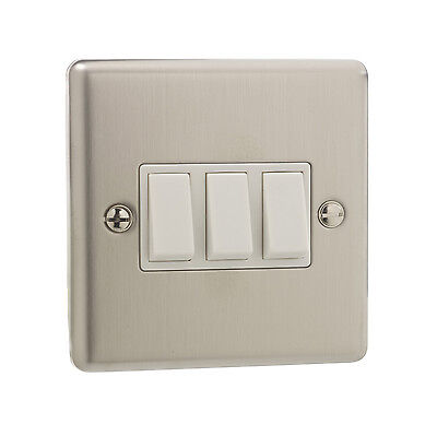 British General Stainless Steel 10A Triple 3 Gang 2 Way Light Plate Switch White