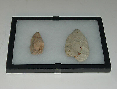 2 Piece Indian Native American Artifact Stone Arrowheads In Case Lot #22