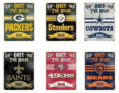 "Choose Your NFL Football Team 11.5"" x 14.5"" Obey the Rules Vintage Metal Sign"