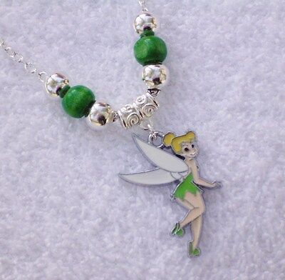 FAIRY Tinkerbell Girls Pendant Green Silver P Beads on Chain Necklace AUS Seller