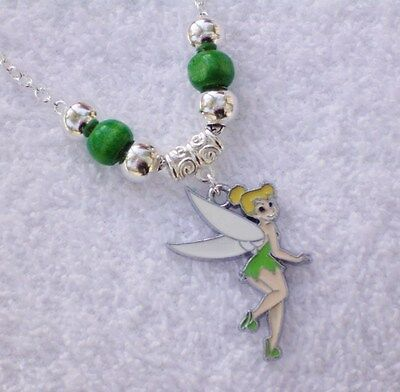 Tinkerbell Fairy Girls Pendant Green Silver P Beads on Chain Necklace AUS Seller