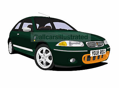 Rover 200 Brm Car Art Print Picture (Size A4). Personalise It!