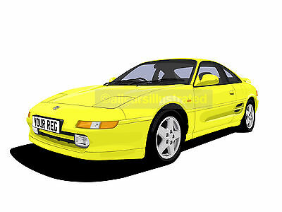 Toyota Mr2 Car Art Print Picture (Size A4). Personalise It!