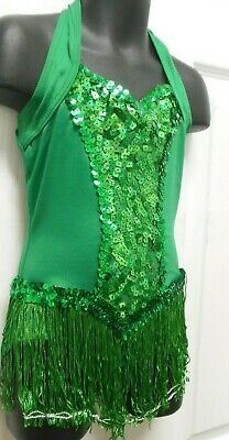 NWT Sequin Tap Jazz Dance Costumes 3 colors ch/ladies fringed sequin halter snap