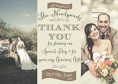 Personalised Vintage/faded Photo Wedding Thank You Cards Packs Of 10
