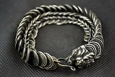 China Old Handwork Miao Silver Carving Dragon Wonderful Noble Bracelet SA