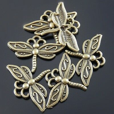 90X Antiqued Bronze Tone Dragonfly Pendant Findings Charms 23*17*2mm