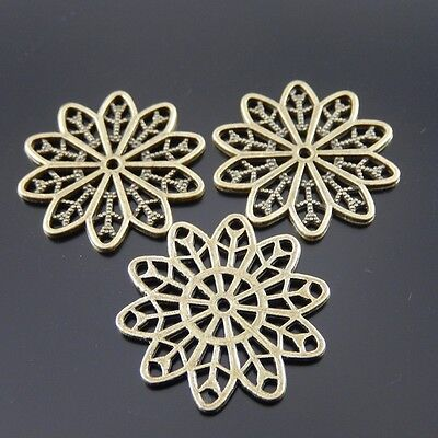40X Antiqued Bronze Tone Flower Pendant Findings Charms 25*25*2mm