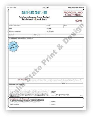 Proposal and Acceptance Contractor Forms Carbonless Copy Book 2 Part Sets 8.5x11