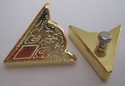 1 Pair Small Collar Tips - Gold Color Engraved Detail Decoration Western Shirt