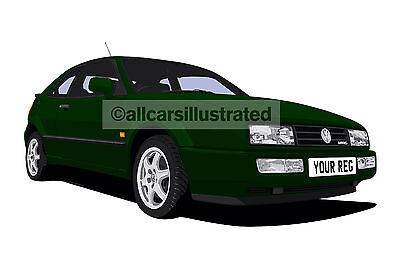 Vw Corrado 16V/g60/vr6 Graphic Car Art Print Picture (Size A4). Personalise It!