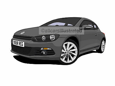 Vw Scirocco Car Art Print Picture (Size A4). Personalise It!