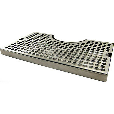 """12"""" Surface Mount Stainless Steel Drip Tray - No Drain w/ Tower Cutout - Bar Pub"""
