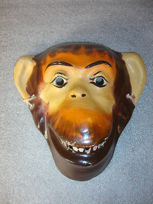 Old Vtg Antique Collectible Paper Mache Monkey Animal Halloween Mask