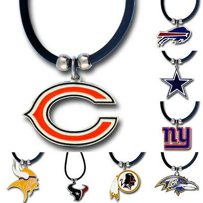 NFL Football Team Logo Pendant on 22 Inch Rubber Cord Necklace - Pick Your Team!