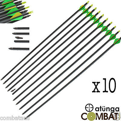 """10x 30"""" CARBON FIBRE ARROWS 4 COMPOUND OR RECURVE BOW TARGET ARCHERY HUNTING NEW"""
