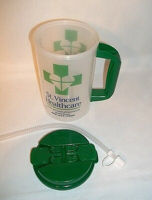 New 32oz Green Clear Double Wall Travel Insulated Mug Straw Whirley Cup Hospital