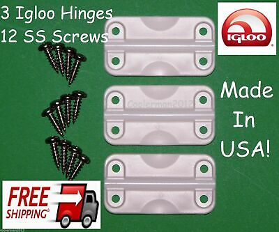 3 pk Igloo Cooler Hinges Replacement Plastic Hinge set 12 stainless screws 24012