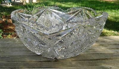Amazing Antique Abp Cut Glass Punch Bowl!  14.5In!!  Weighs 18Lbs!!!  Stunning!