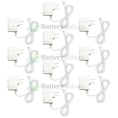 10 White Micro USB Battery Wall AC Power Charger Adapter for Android Cell Phone