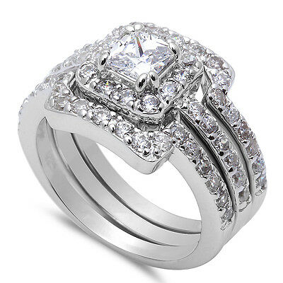 BEAUTIFUL! 3 PIECE ENGAGEMENT BRIDAL Set .925 Sterling Silver Ring Sizes 5-10
