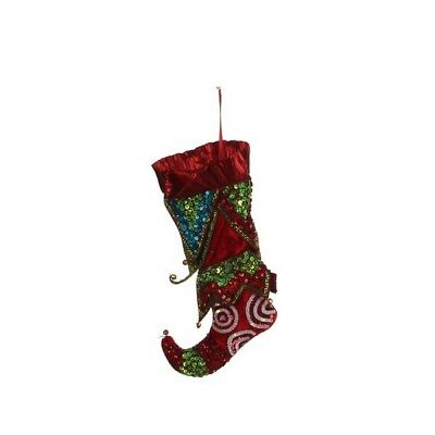 Katherine' S Collection Chaussette North Pole Tissu Et Perles Rouge